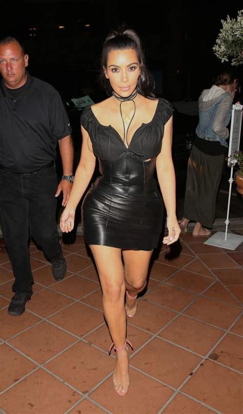 kim kardashian corset dress for north kim kardashian wears black leather corset dress in san diego