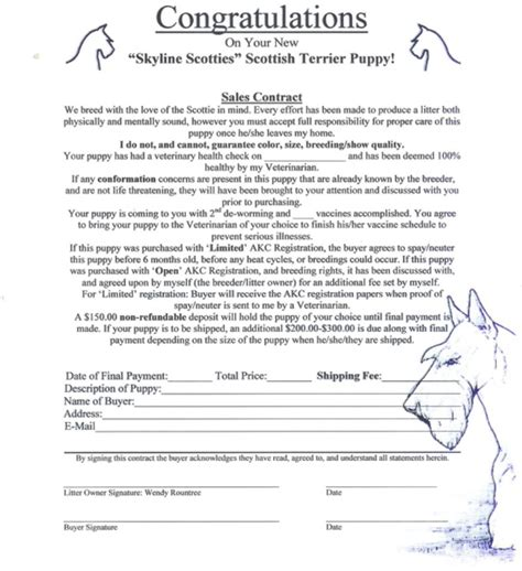 Puppy Contract Contract Free Printable Puppy Sales Contract Form Puppy Sales Contract Form Pet Puppy Contract Template