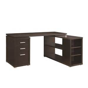 Corner Unit Desk Parson Corner Desk With Shelving Unit Brown Home Office Furniture Furniture