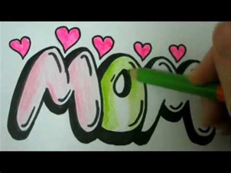 draw mom   draw mom  easy graffiti bubble letters