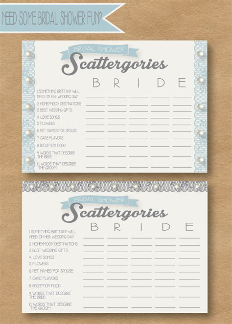 personalized bridal shower scattergories bridal shower picadilly prints bridal scattergories