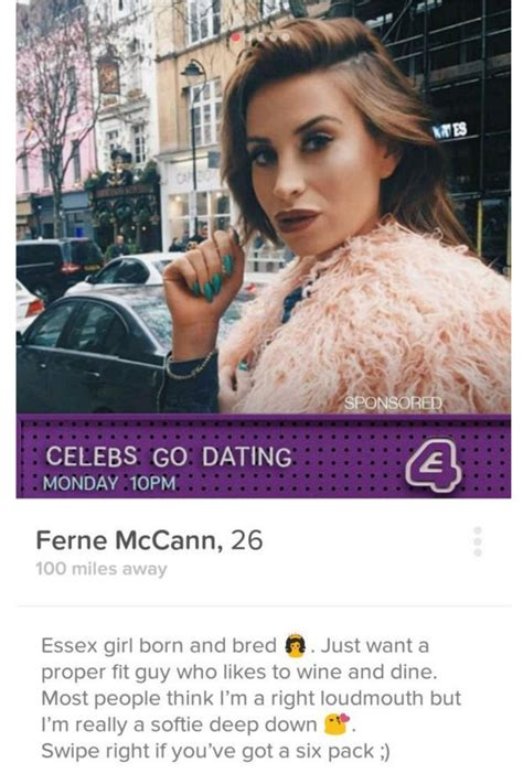 do celebrities date fans joey essex and ferne mccann s tinder profiles anger celebs