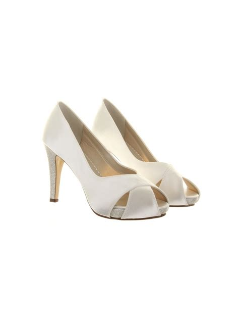 rainbow club safia glitter platform ivory satin wedding shoe
