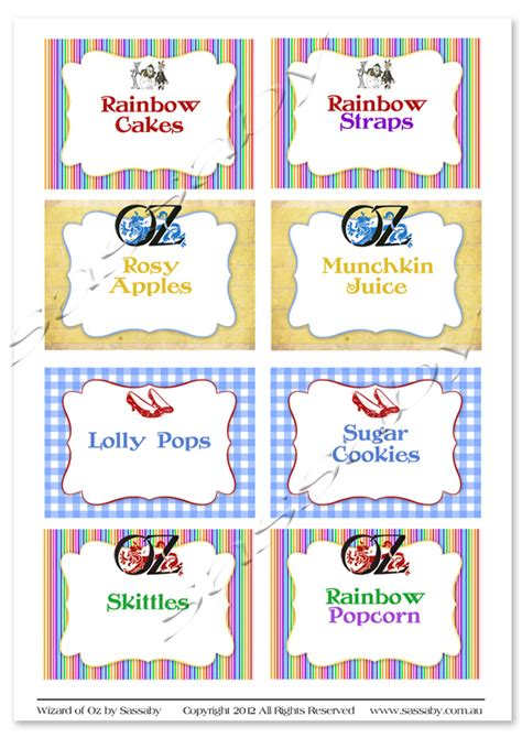 wizard of oz party labels sassaby parties