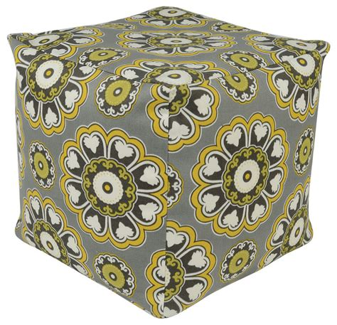 yellow and gray ottoman nell pouf yellow gray contemporary footstools cubes and
