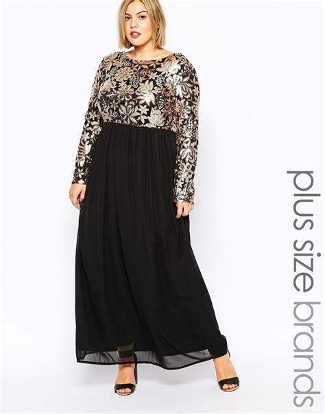 black and gold l l plus size maxi dress with sequin top lyst