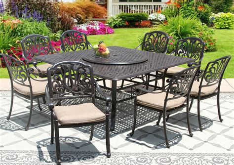 Square Outdoor Dining Table For 8 Elisabeth Cast Aluminum Outdoor Patio 9pc Set 8 Dining Chairs 65 Inch Square Table Series 5000