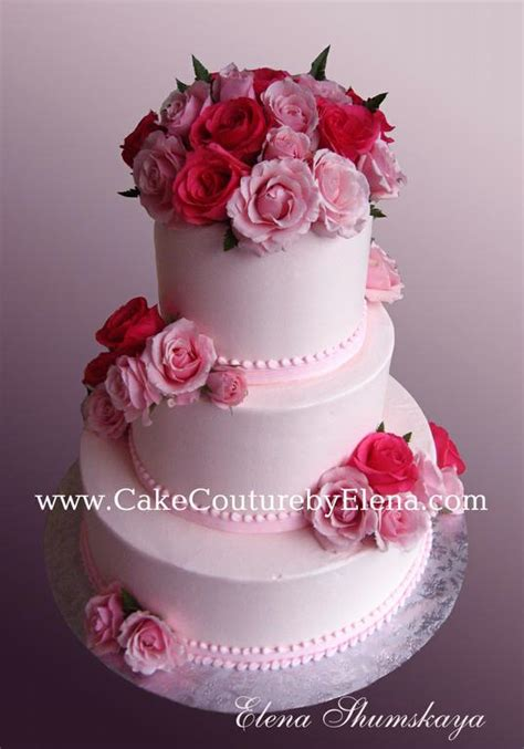 Baby Pink Roses Wedding Cake from Elenas Cakes and More in