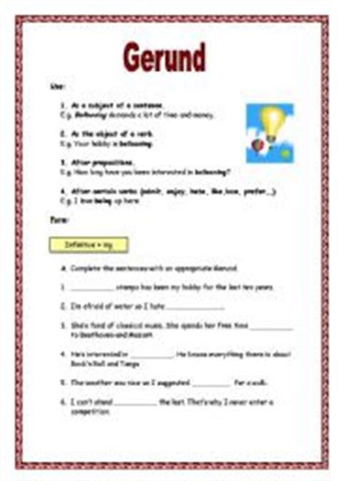 Gerund Worksheet by Gerunds Worksheet Geersc