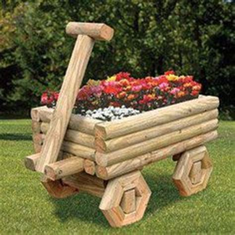 Landscape Timber Wheelbarrow Wagon For A Flower Bed Made From Landscape Timbers