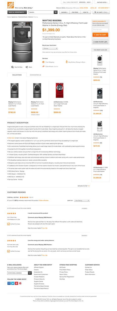 the home depot website on behance