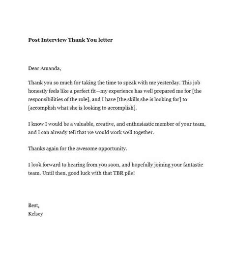 template for thank you email after thank you letter after email sles