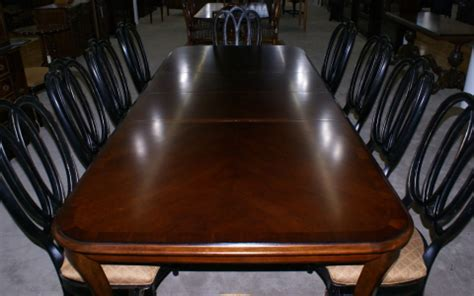 modern bassett cherry dining room table  set   painted black regency dining room chairs