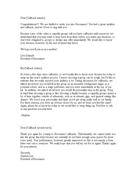 Audition Rejection Letter | Templates at