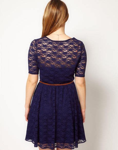 asos curve lace skater dress with belt in blue navy lyst