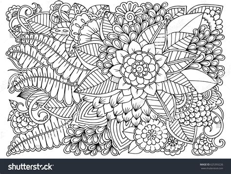 pattern art therapy black white flower pattern adult coloring stock vector