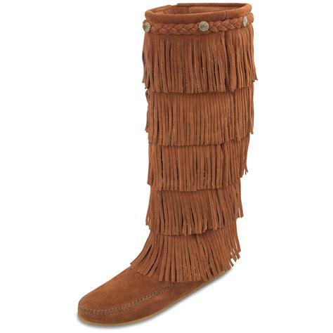 s minnetonka moc 174 5 layer fringe boots 164758