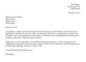 free formal meeting request letter sle