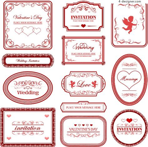 pattern theme download 4 designer love theme pattern border vector material