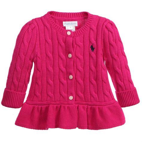 Dress Cardigan Baby Pink ralph baby bright pink knitted peplum