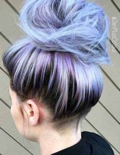 hairstyles without dying roots pastel blue dyed hair color messy bun style i also love