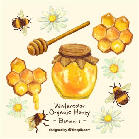 Karpet Set Motif Bee Lebah painted honey jar with honeycomb vector free