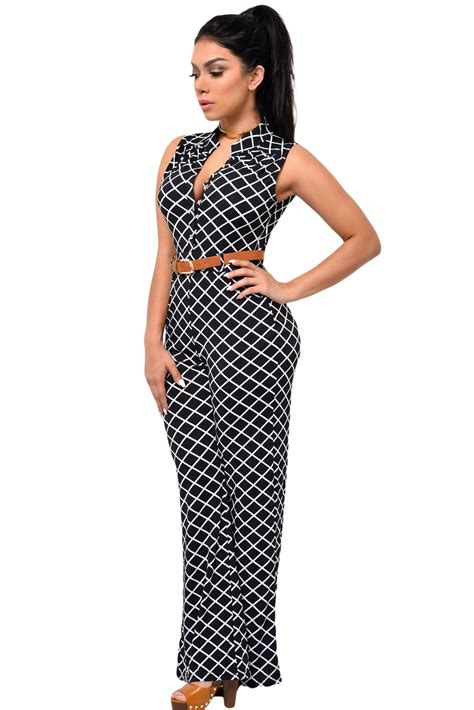 Belted Lattice Sleeve Jumpsuit lattice print belted wide leg jumpsuit charming wear
