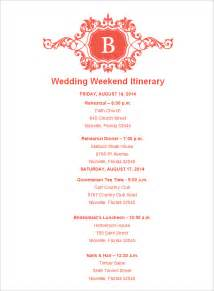 Wedding Itinerary Template by Wedding Weekend Itinerary Template 7 Free Word Pdf