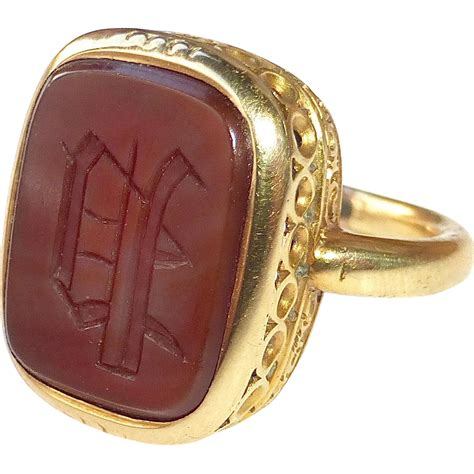 18k antique carnelian intaglio p seal ring from