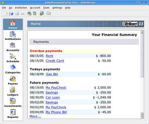 Home Accounting Software by Kmymoney Free Personal Finance Software