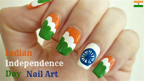 nail art tutorial in hindi indian independence day flag nail art with tutorial video