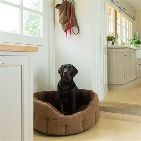 house paws house of paws brown tweed faux sheepskin oval snuggle dog bed dog beds and costumes