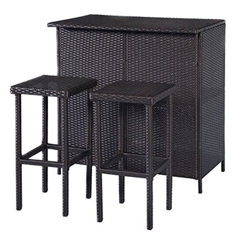 Outdoor Wicker Bar Table And Stools by Patio Outdoor Table And 2 Stools Outdoor Rattan Wicker Bar