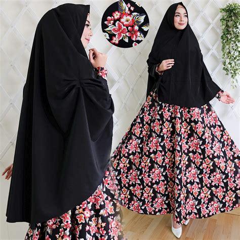 Busana Muslim Gamis Katun Kerudung Putih Syariah baju gamis hitam polos