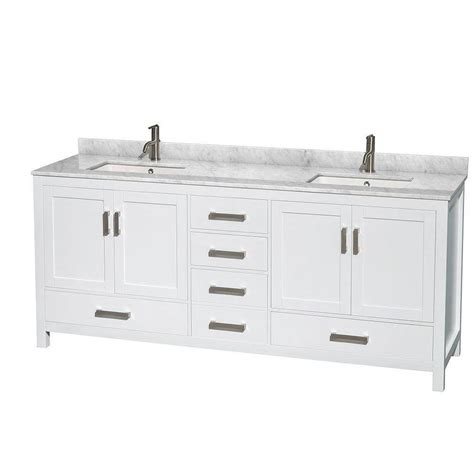 White Marble Vanity Top by Wyndham Collection Sheffield 80 In Vanity In White