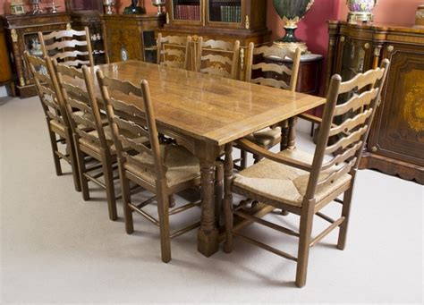 oak dining table and 8 chairs vintage solid oak refectory dining table 8 chairs