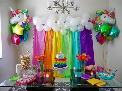 rainbow and unicorn decor for child s birthday via