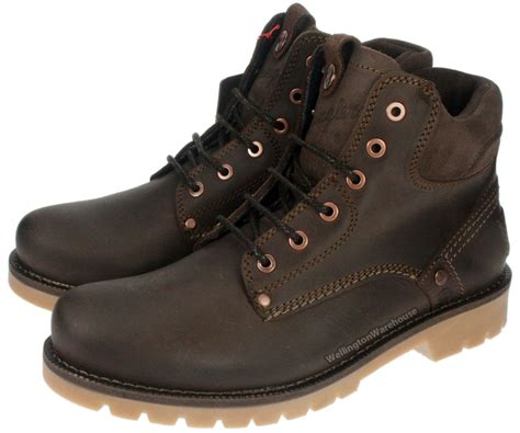wrangler yuma newton brown lace up mens leather boots