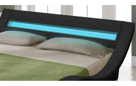 lit king size noir 180 cm avec sommier et bande led