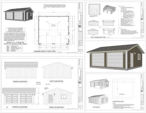 plans for a garage g528 24 x 22 x 8 garage plan pdf and dwg rv garage plans