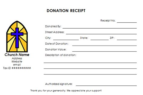 contribution receipt template church donation receipt template