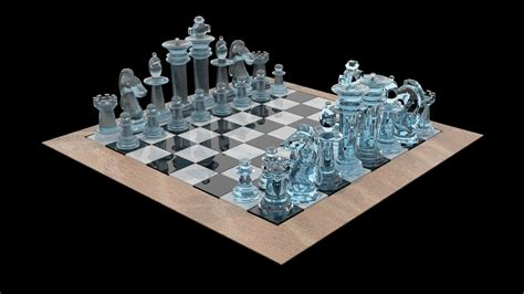 glass chess boards chess set glass 3d model game ready max obj 3ds fbx mtl cgtrader com