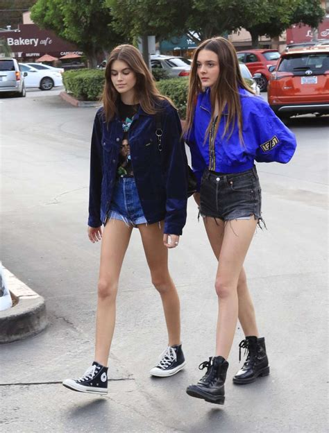 kaia gerber friends kaia gerber in shorts with friend out in los angeles
