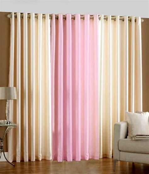 long pink curtains pindia set of 3pc plain eyelet long door curtains cream