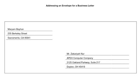 Business Letter Format Envelope Tj Homeschooling