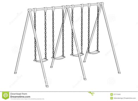 draw swing image of swing playground stock illustration