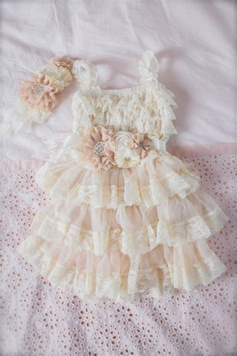 shabby chic flower dress chagne lace flower dress ivory lace baby doll