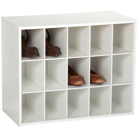 white wood shoe storage 15 cubby stackable shoe rack organizer shelves in white