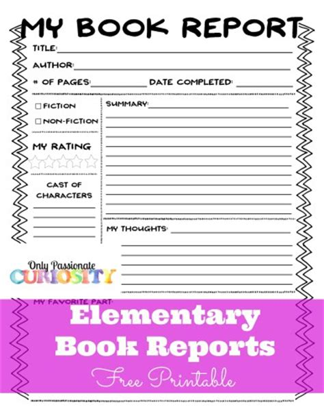 free book report form free book report forms free homeschool deals