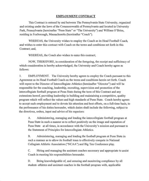 templates for employment contracts sle employment contract 7 documents in word pdf
